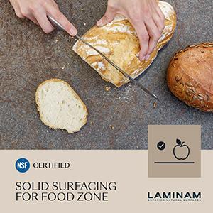 Laminam est la première entreprise à obtenir la certification NSF pour le contact avec les denrées alimentaires
